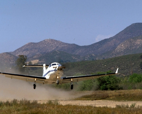 A Pilatus PC-12 single-engine aircraft, the type of plane that recently crashed in South Dakota.