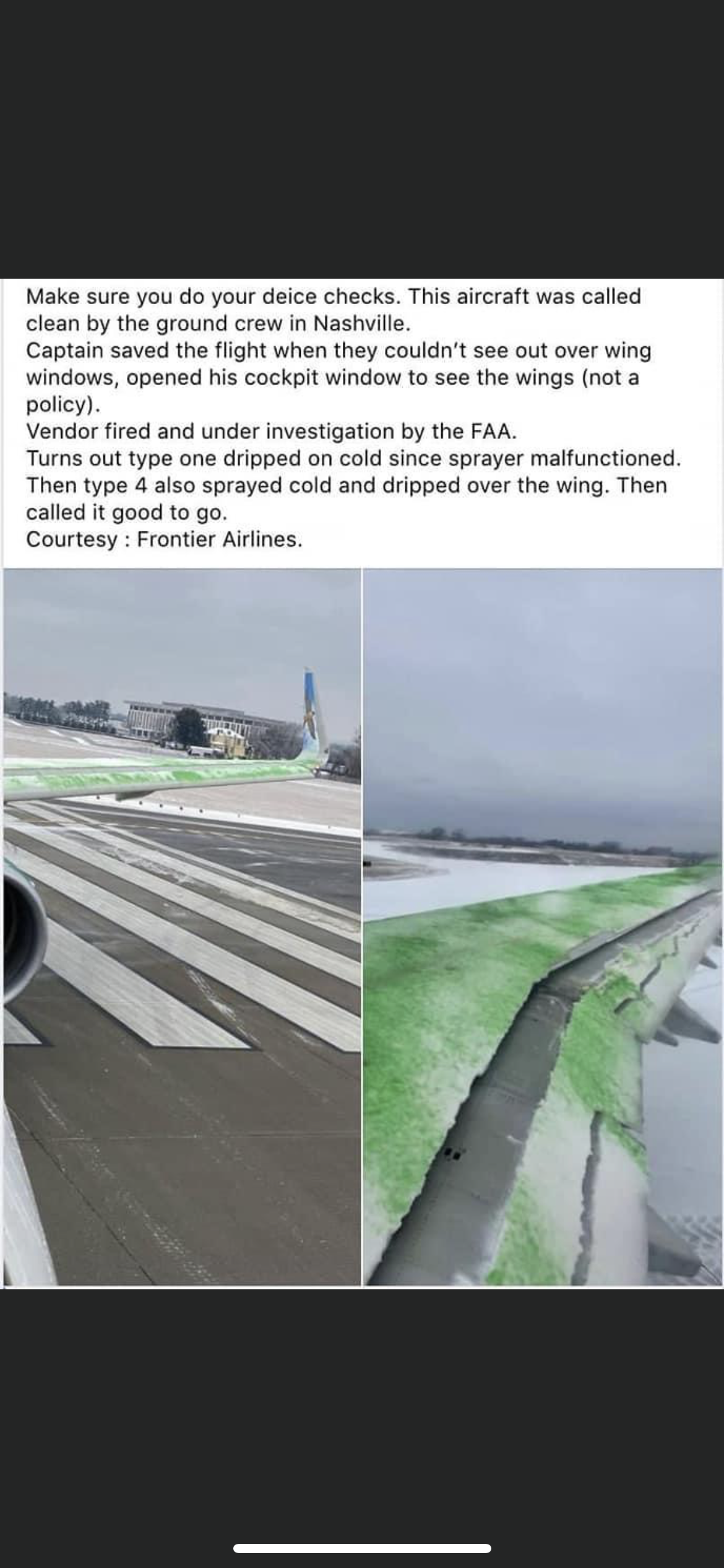 Incident with deicing a plane