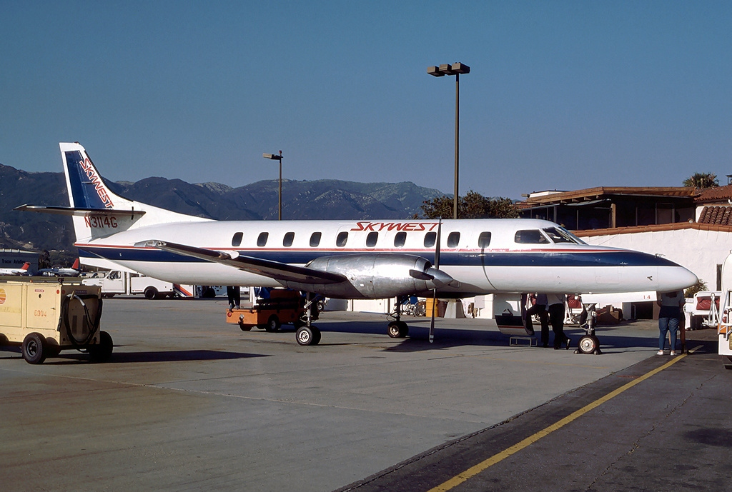 A SkyWest Airlines Fairchild Metroliner, similar to the one involved