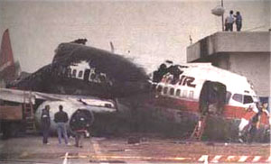 The wreckage of Flight 1493 after the accident.